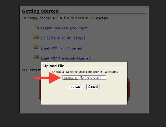 Realizando o upload do arquivo PDF com o PDFescape (Foto: Reprodução/Marvin Costa)