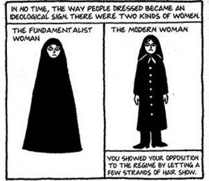 """Em """"Persepolis"""", Marjane Satrapi mostra como as mulheres se vestiam após a implantação da República Islâmica. Fundamentalistas (e) usavam o chador, enquanto modernas (d) vestiam hijabs - uma forma de oposição ao regime era deixar fios de cabelo à mostra (Foto: Reprodução)"""