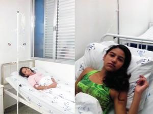 Mariana (dir.) e Luana (esq.) estão internadas após reação a vacina (Foto: Arquivo Pessoal/Fabíola Freitas)