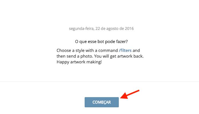 Iniciando o bot do Prisma no Telegram Web (Foto: Reprodução/Marvin Costa)
