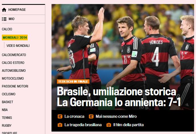 Humilhação histórica: Gazzetta dello Sport repercute o 7x1 (Foto: Reprodução/Gazzetta dello Sport)