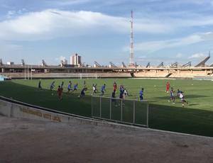 Fortaleza fez reconhecimento de gramado no Colosso do Tapajós (Foto: Raysa Sousa/Tv Tapajós)