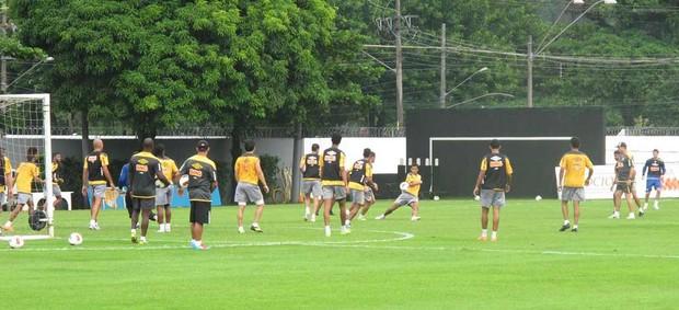 Jogadores do Santos fazem rachão antes do confronto com o Internacional  (Foto: Marcelo Hazan /globoesporte.com)