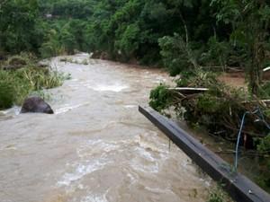 Rio Rolante transbordou e inundou a cidade (Foto: Tiago Rocha/CBV de Rolante)