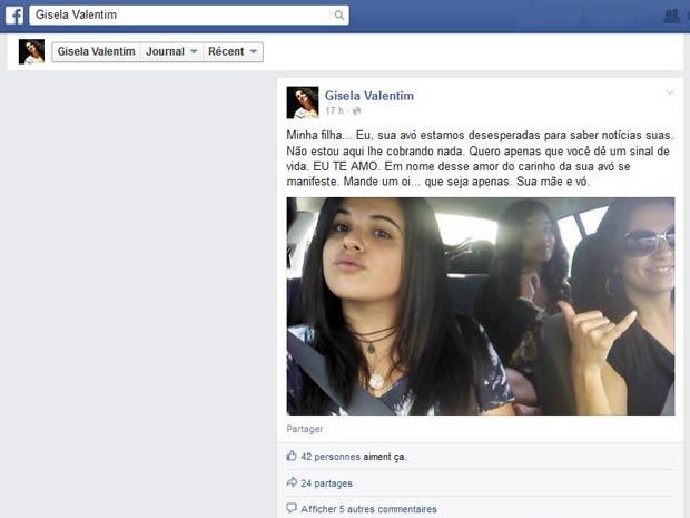 Em publicação na web, Gisela Valentim pede que filha dê notícias (Foto: Facebook/Reprodução)