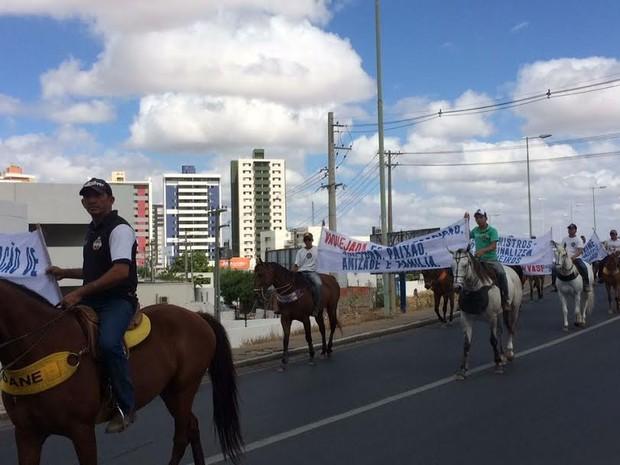 PRF diz que cerca de 300 manifestantes participaram do protesto (Foto: Paulo Ricardo Sobral / TV Grande Rio)