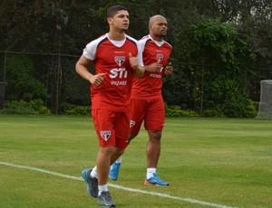 Denilson e Edson Silva treinam no São Paulo (Foto: Site Oficial / saopaulofc.net)