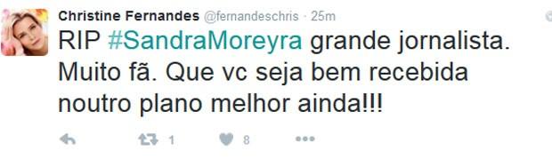 Christine Fernandes deixou uma mensagem em sua conta do Twitter (Foto: Reprodução)