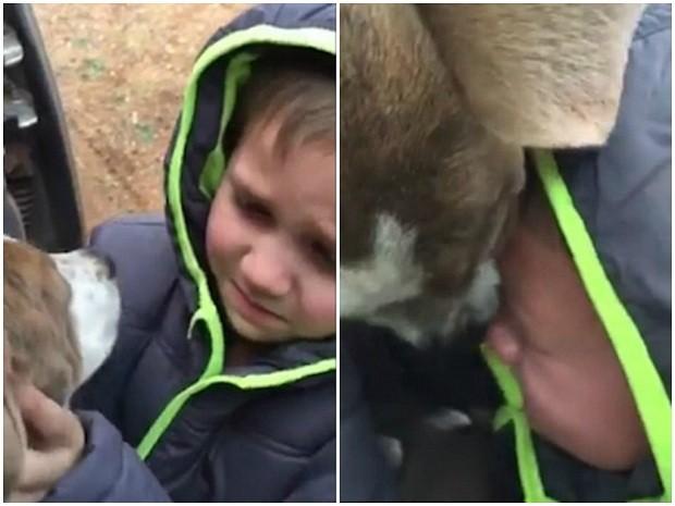 Menino reencontrando cachorro (Foto: Facebook)