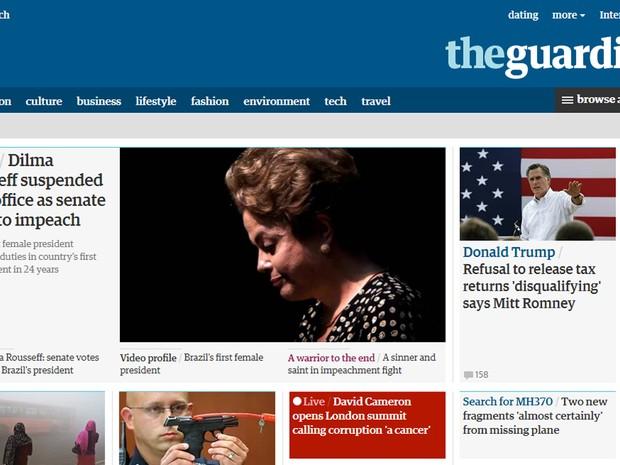The Guardian afirma que problemas políticos, econômicos e fiscais levaram a Dilma ao afastamento (Foto: Reprodução/G1)