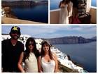 Kim Kardashian aproveita as paisagens da Grécia com a família