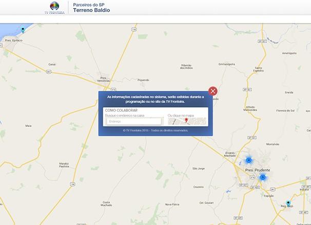 Mapa vai indicar geograficamente o problema relatado pelos telespectadores (Foto: Reprodução TV Fronteira)