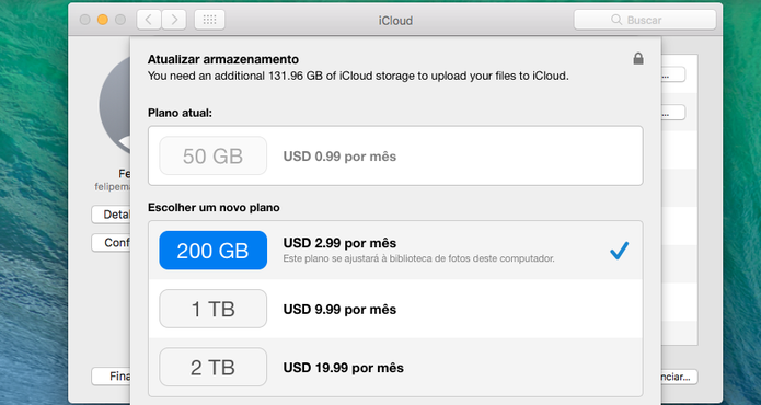 Caso necessário, o iCloud oferecerá opção de upgrade (Foto: Reprodução/Felipe Vinha)