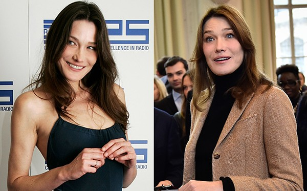 Carla Bruni em 2002 e em 2015 (Foto: Getty Images)