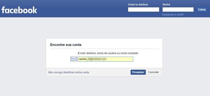 Insira seu e-mail ou nome (Foto: Reprodução/Camila Peres)