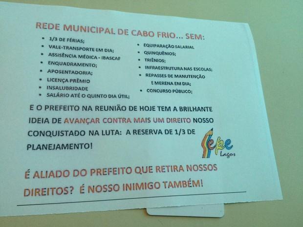 Sepe divulga reivindicações feitas ao governo (Foto: Sepe Lagos/Divulgação)