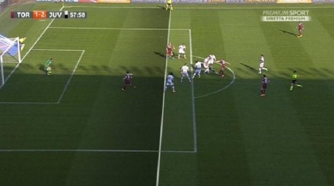 Impedimento mal marcado Torino x Juventus (Foto: Reprodução de vídeo)