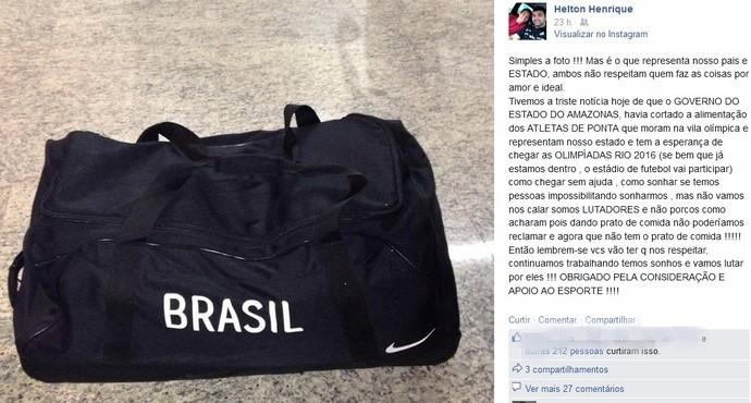 Atletas e professores denunciam corte de alimentação na Vila Olímpica de Manaus (Foto: Reprodução/Facebook)