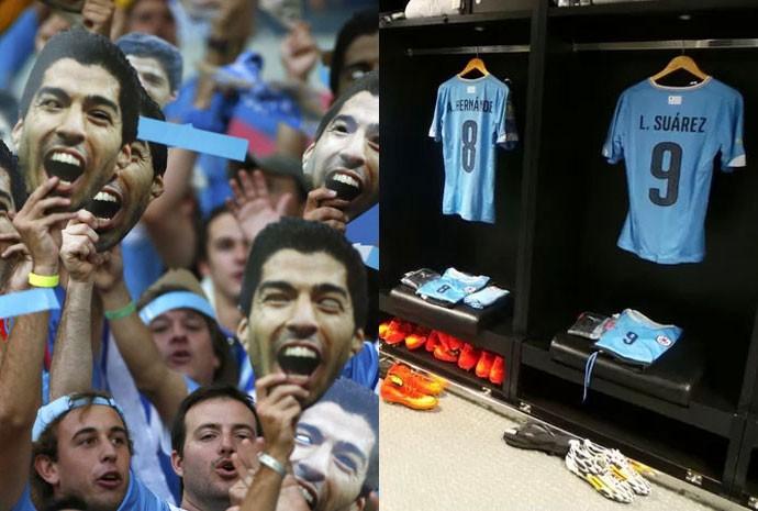 Torcedores com máscaras de Suárez e uniforme do jogador no vestiário uruguaio