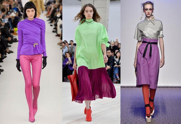 Color block se reafirma como tendência pelas mãos da Balenciaga, Céline e Olympia Le-Tan (Foto: Catwalking /Getty Images e Imaxtree)
