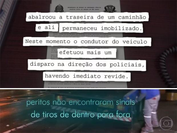 Discrepância entre o boletim de ocorrência e a perícia (Foto: TV Globo/Reprodução)