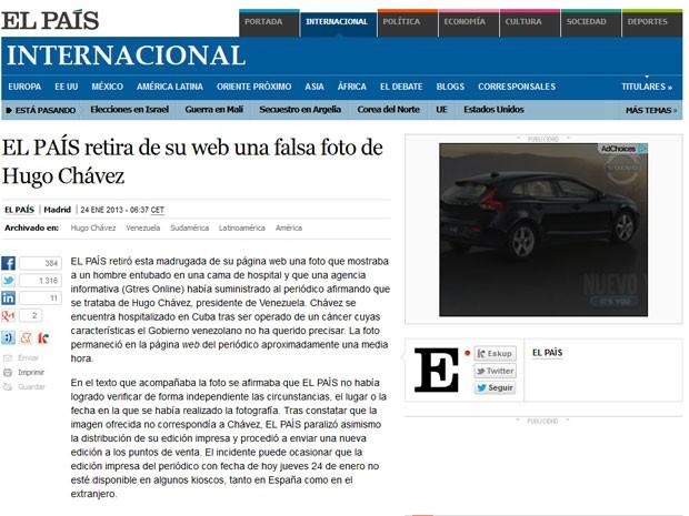 Diário espanhol El País explica episódio em um comunicado na versão online do jornal (Foto: Reprodução)