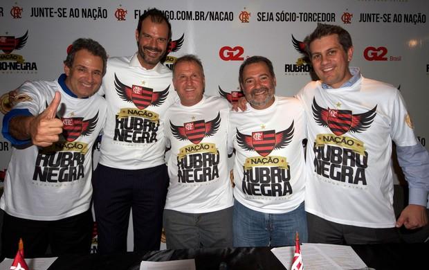 Luiz Eduardo Baptista, Henrique Netto, Zico, Fred Luz e Cadu Ferreira Sócio Torcedor do Flamengo (Foto: Pedro Monteiro / Divulgação)