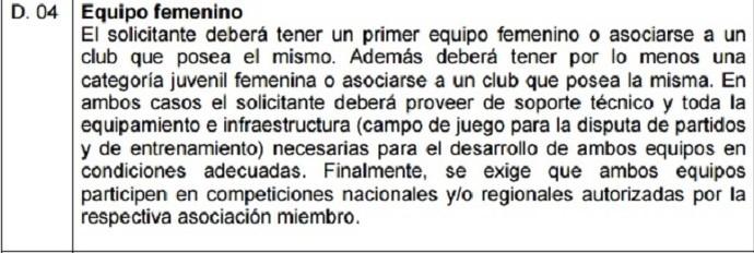 Regulamento de Licença de clubes da Conmebol prevê que clubes tenham times femininos (Foto: Reprodução/Conmebol)