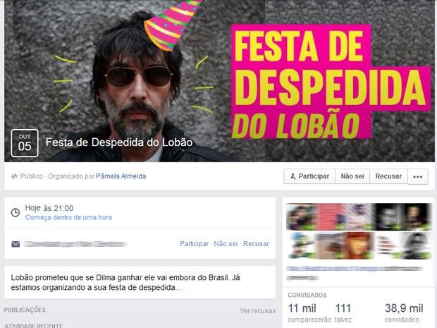 Evento de despedida do cantor Lobão (Foto: Reprodução/Facebook)
