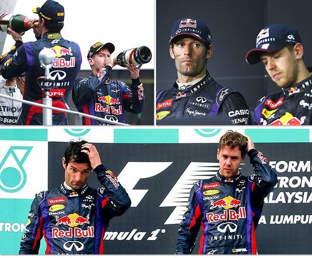 montagem Webber Vettel pódio RBR  (Foto: Editoria de Arte / Globoesporte.com)