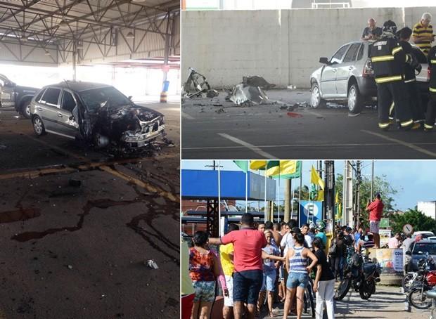 Veículo ficou parcialmente destruído com a força da explosão (Foto: PM/Divulgação e Júnior Santos/Divulgação)