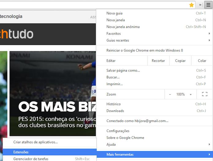 Acesse a página de extensões do Chrome (Foto: Reprodução/Helito Bijora)