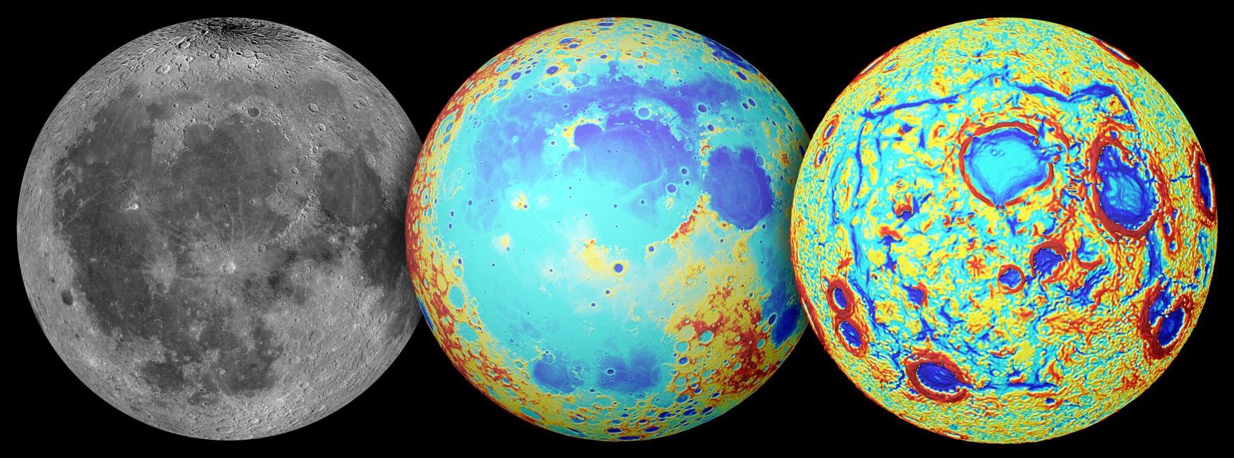A Lua, observada em luz visível (esquerda), a topografia (centro) e os gradientes de gravidade (direita) (Foto: NASA/Colorado School of Mines/MIT/JPL/Goddard Space Flight Center)