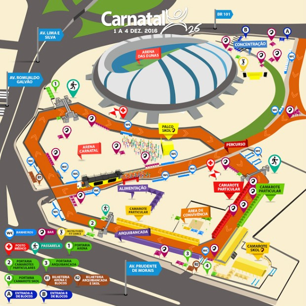 Confira o mapa do Carnatal 2016 (Foto: Divulgação)