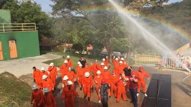 Treinamento da Brigada de Emergência da Globo Minas (Foto: TV Globo Minas)