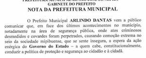 Prefeito alega insegurança e cancela o carnaval da cidade (Cedida/Prefeitura de São José de Mipibu)