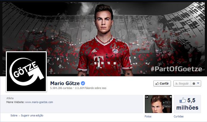 Mario Gotze do Bayern de Munique tem 5,532,478 de fãs no Facebook (Foto: Reprodução/Facebook)