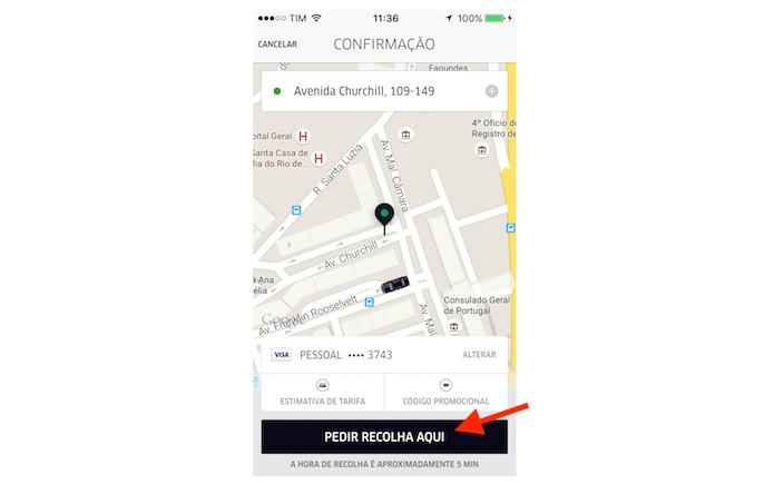 Pedindo uma corrida pelo Uber no iPhone (Foto: Reprodução/Marvin Costa)