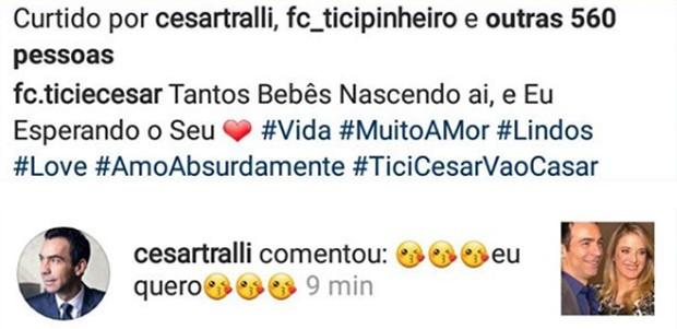 César Tralli responde fãs no Instagram (Foto: Reprodução/Instagram)