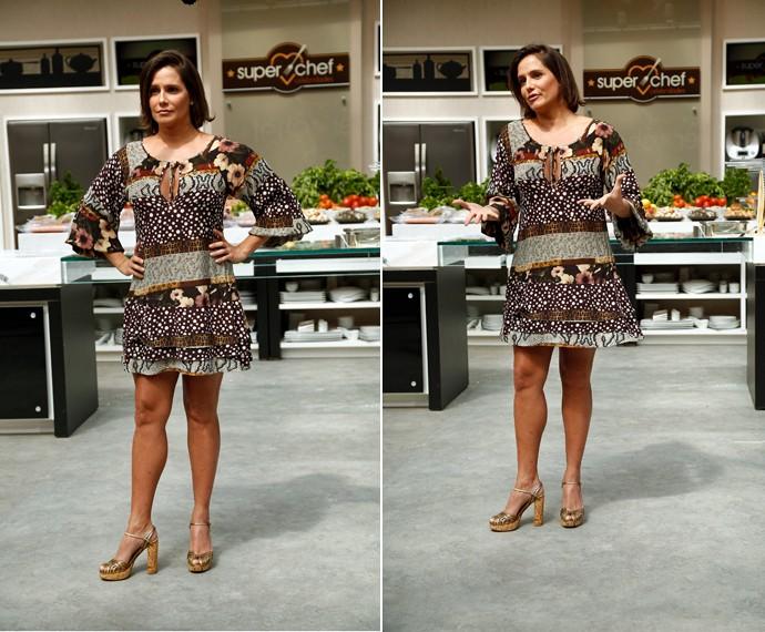 Deborah Secco desfila de vestido soltinho no 'Super Chef', do 'Mais Você' (Foto: Raphael Dias/Gshow)