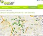 Mapa com pontos onde há carros disponíveis (Foto: Reprodução/Zazcar)