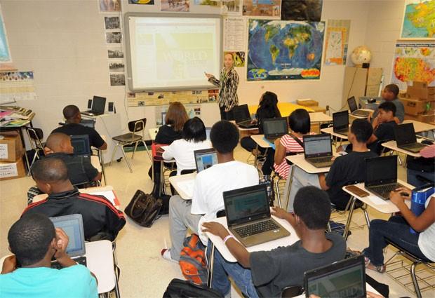 Sala de aula no distrito escolar de Huntsville, Alabama (Foto: Divulgação/Huntsville City Schools)