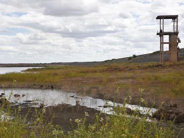 Barragem Armando Ribeiro Gonçalves, maior reservatório do Rio Grande do Norte, tem nível de água crítico em razão da estiagem prolongada.  (Foto: Anderson Barbosa e Fred Carvalho/G1)