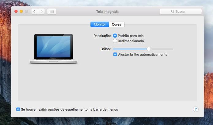 Utilize os sensores de luz do Mac para ajustar o brilho de tela (Foto: Reprodução/André Sugai)