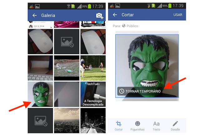 Iniciando a ferramenta para incluir uma foto temporária no Facebook para Android (Foto: Reprodução/Marvin Costa)