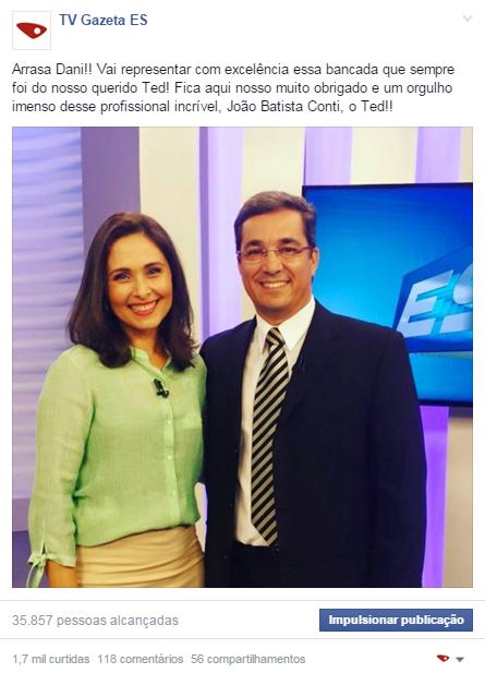 Dani substitui Ted Conti (Foto: Divulgação/ TV Gazeta)