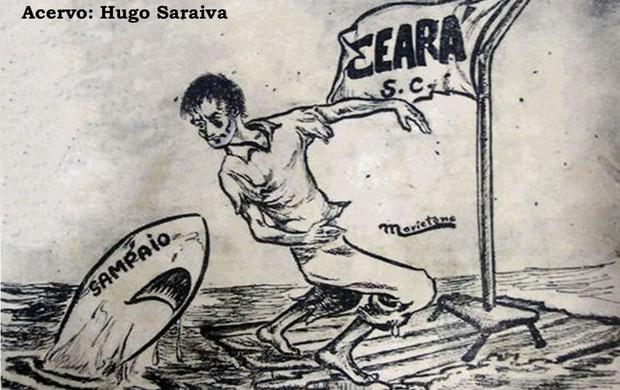 A charge que transformou o Sampaio em Tubarão foi publicada no jornal Pacotilha-O Globo, de 1950 (Foto: Arquivo Pessoal/Hugo Saraiva)