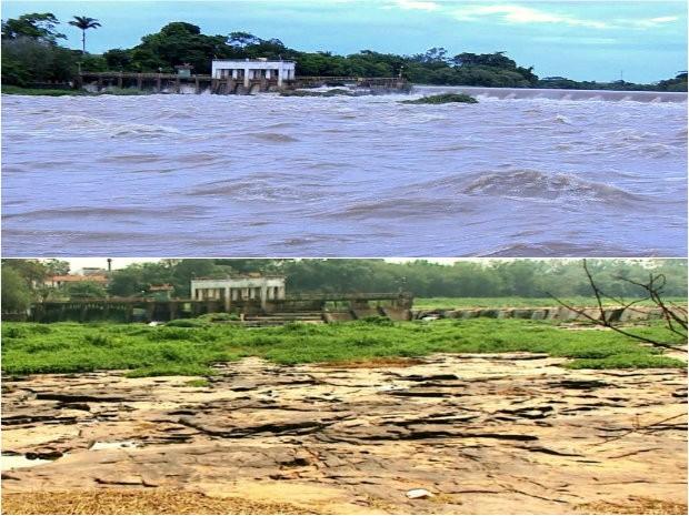Paisagem da Cachoeira de Emas antes e depois das chuvas (Foto: Reprodução/EPTV)