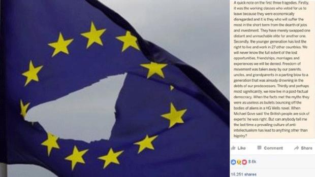 """Comentário de britânico que atribui a """"pais, tios e avós"""" a """"culpa"""" pela saída do Reino Unido da União Europeia virou símbolo da insatisfação de parte da juventude (Foto: BBC)"""