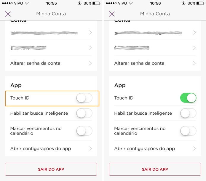 Habilite o Touch ID no app do Nubank (Foto: Reprodução)